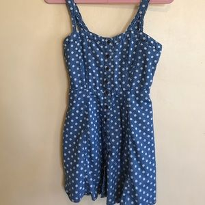 Polka dot denim sundress